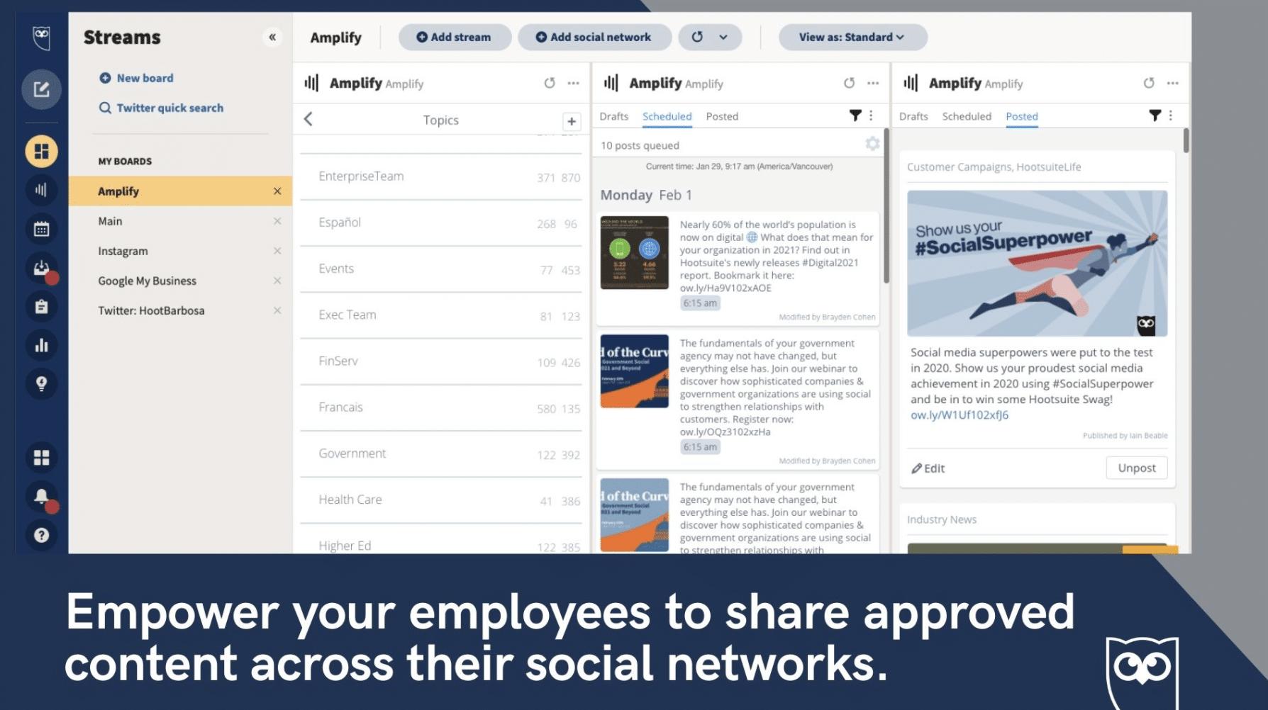 Hootsuite Amplify Защита сотрудников
