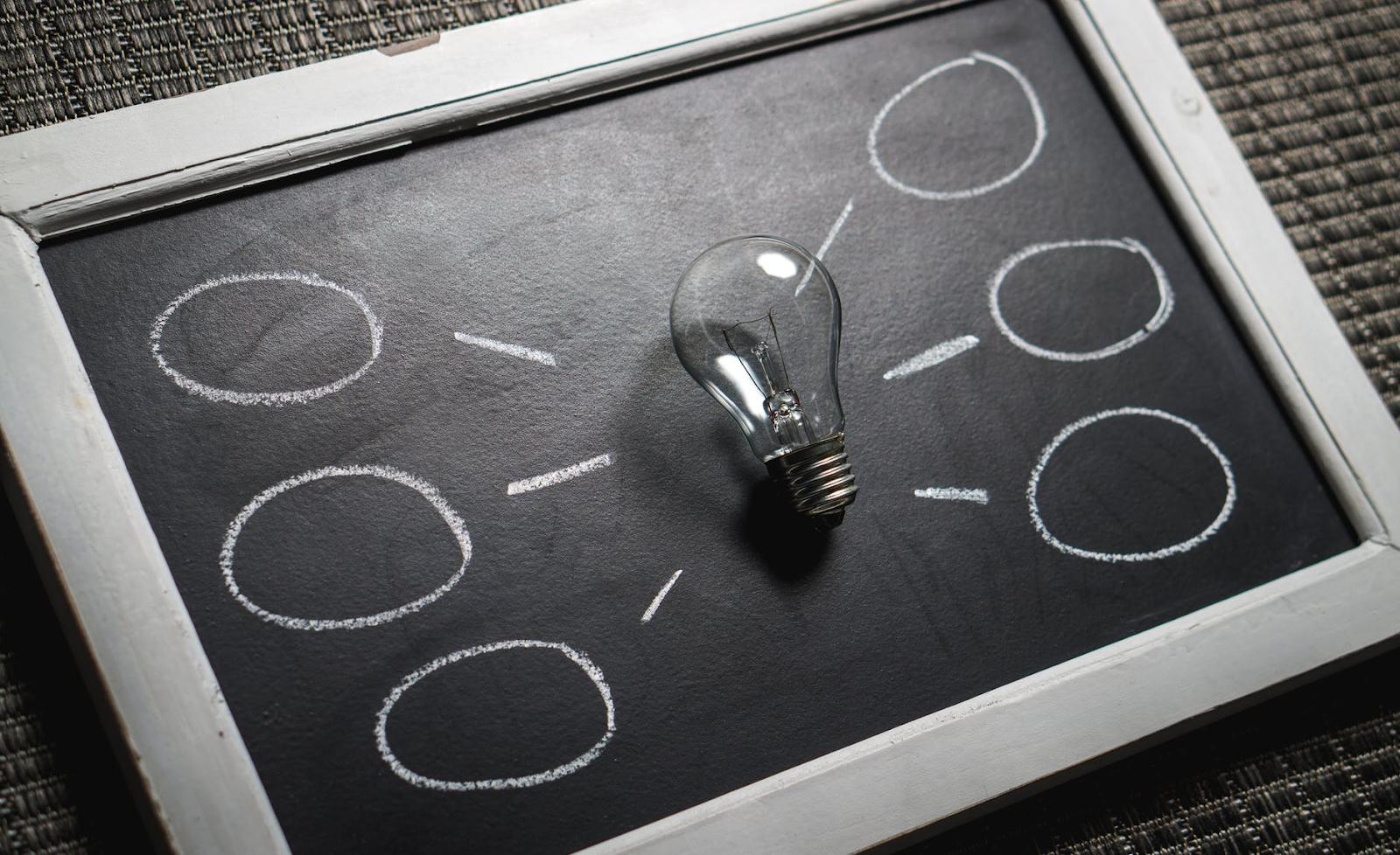 Изображение лампочки на классной доске с выходящими из нее пузырями идей.