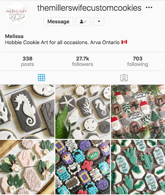 Профиль пользовательских файлов cookie жены Миллера (27,7 тыс. подписчиков в Instagram)