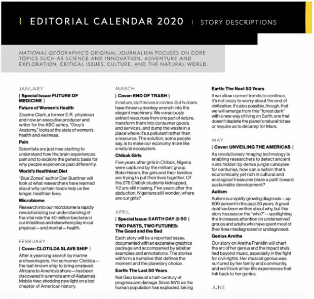 Редакционный календарь National Geographic на 2020 год