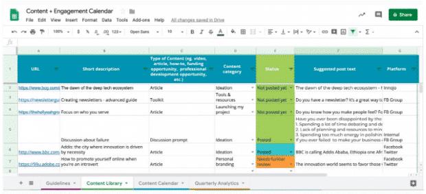календарь контента в социальных сетях, DOT, вкладка библиотеки контента