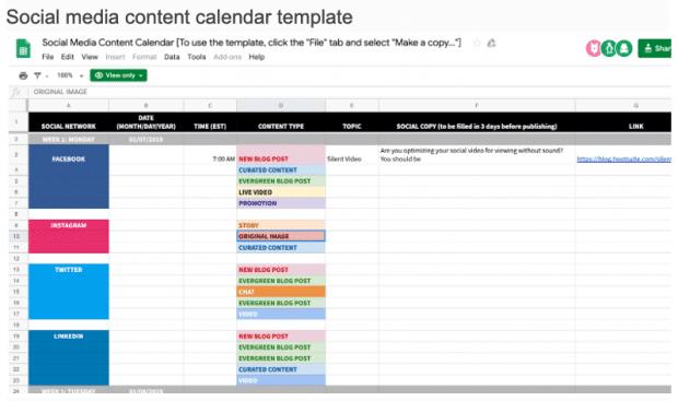 шаблон календаря контента для социальных сетей