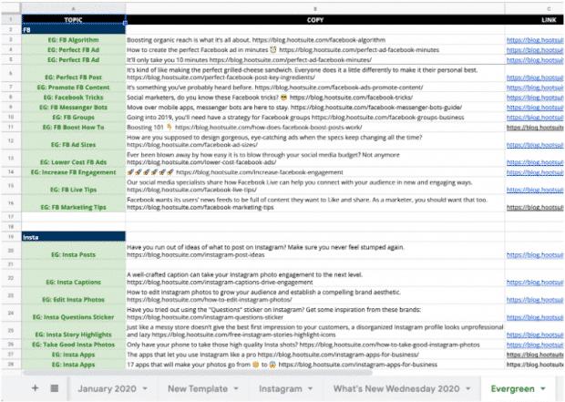 Календарь содержания в социальных сетях Hootsuite,