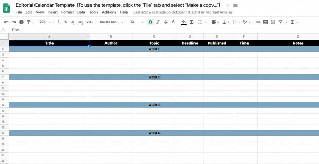 Редакционный календарь шаблон