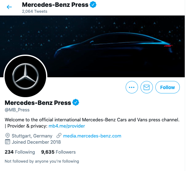 изменить дескриптор Twitter: Mercedes Benz Press Профиль Twitter