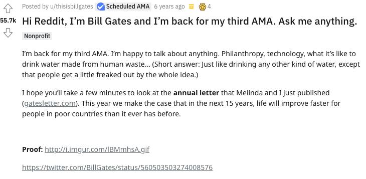 Сообщение Билла Гейтса AMA на Reddit