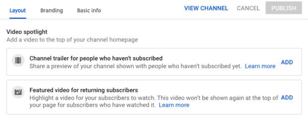 Видеообзор макета канала YouTube