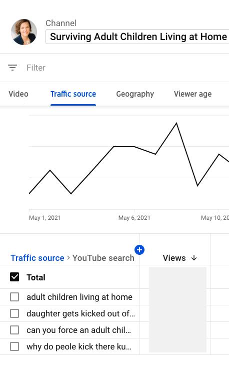 Источник трафика аналитики YouTube