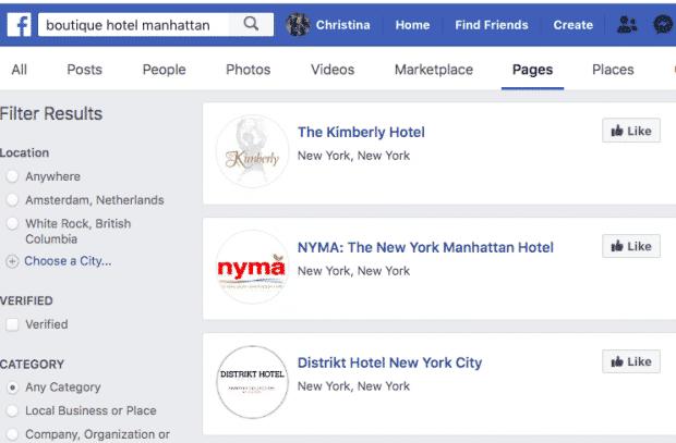 Снимок экрана с результатами поиска Facebook для