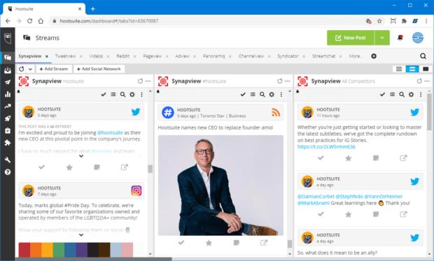 Анализ конкуренции в социальных сетях Synapview на панели инструментов Hootsuite