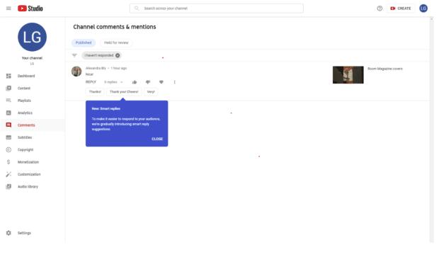 Функция умных ответов YouTube Studio
