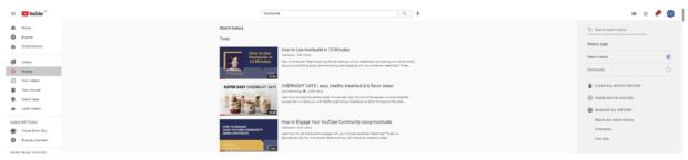 Комментарии в истории просмотров YouTube