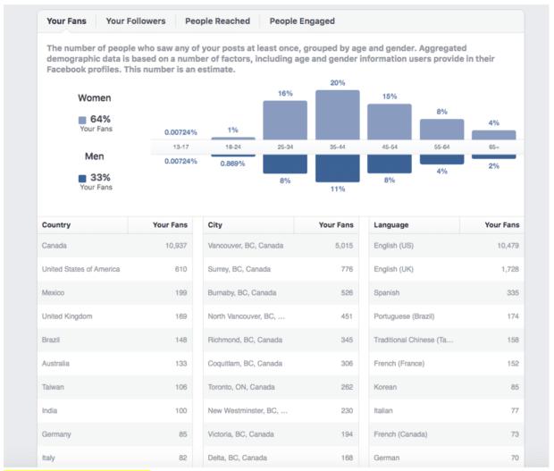 Демографические данные аудитории Facebook