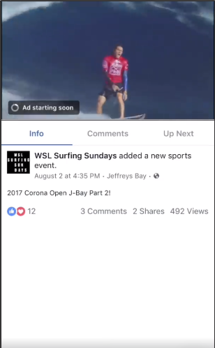 Пример видео In-Stream на Facebook