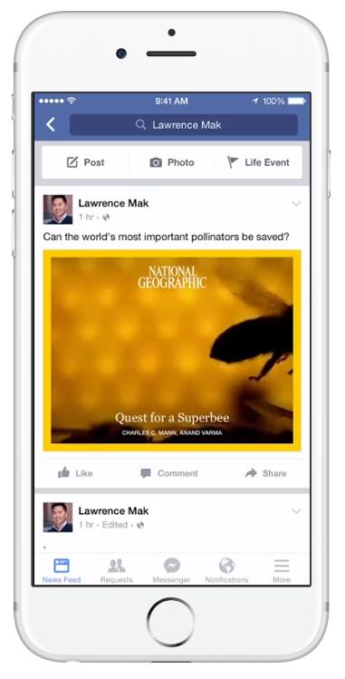 Скриншот видео с мгновенными статьями в Facebook