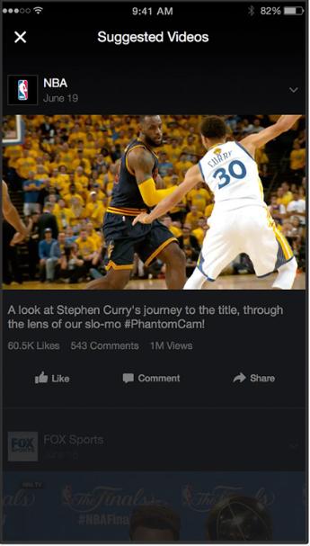 Пример рекламы видеопотока Facebook