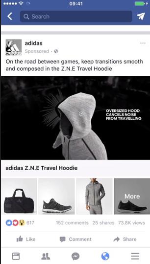 Снимок экрана с рекламой коллекции каналов Facebook
