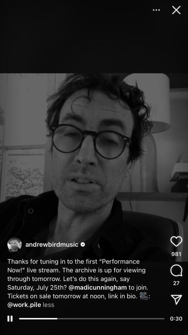 Эндрю Бёрд делится музыкальным исполнением с фанатами в Instagram Live