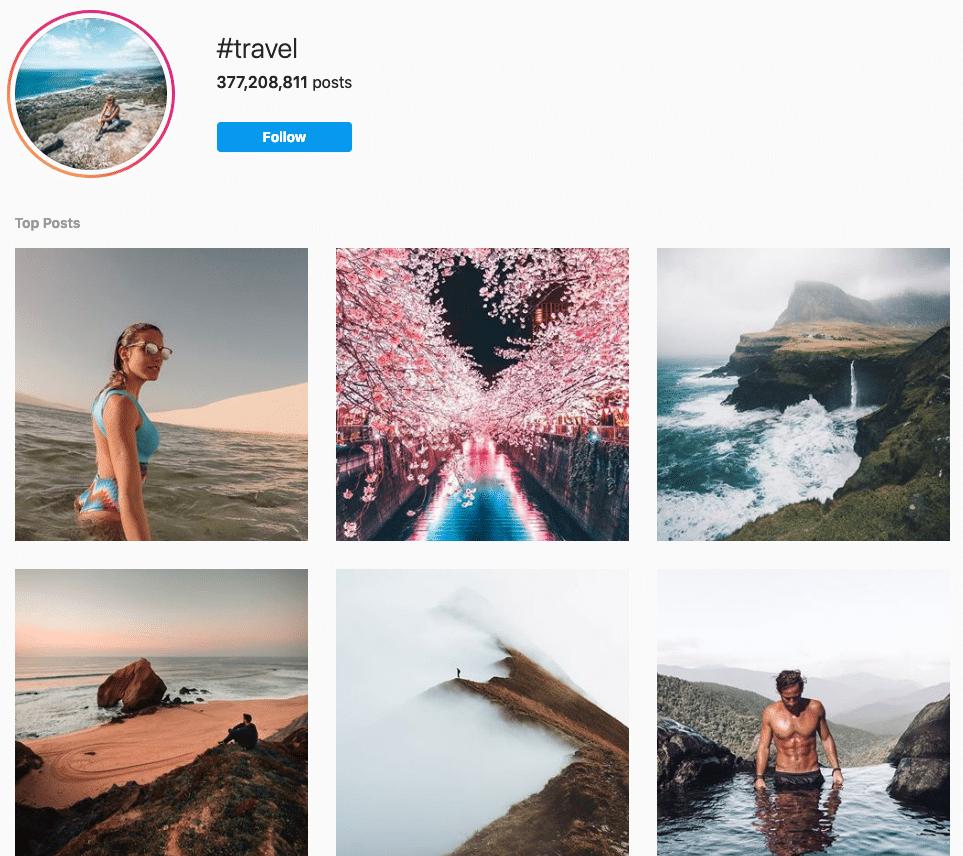 Страница хэштега для путешествий в Instagram с 377 000 000 сообщений
