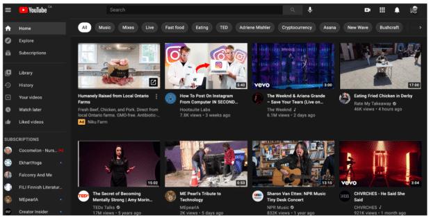 Алгоритм домашней страницы YouTube