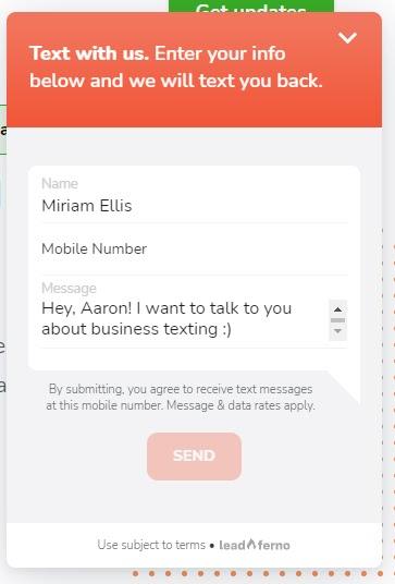Пример окна регистрации с помощью текстового бота.