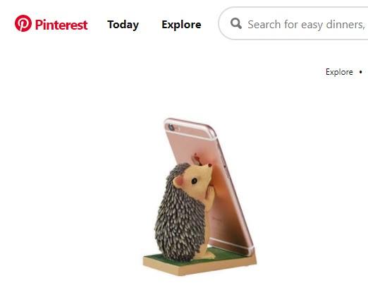 Снимок экрана держателя для мобильного телефона в форме ежа.