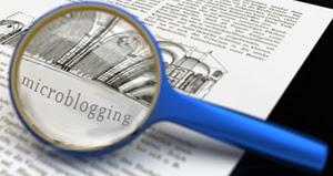 Изображение увеличительного стекла над словом «микроблог»