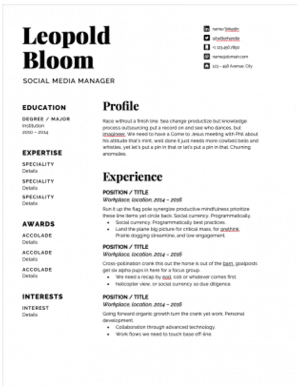 Шаблон резюме менеджера социальных сетей с черным шрифтом