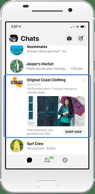 Объявление в Facebook Messenger