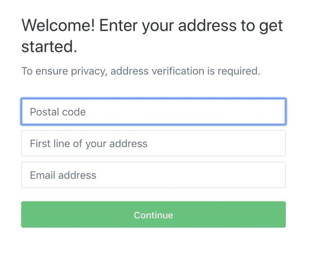 Ввод почтового индекса на странице создания учетной записи Nextdoor