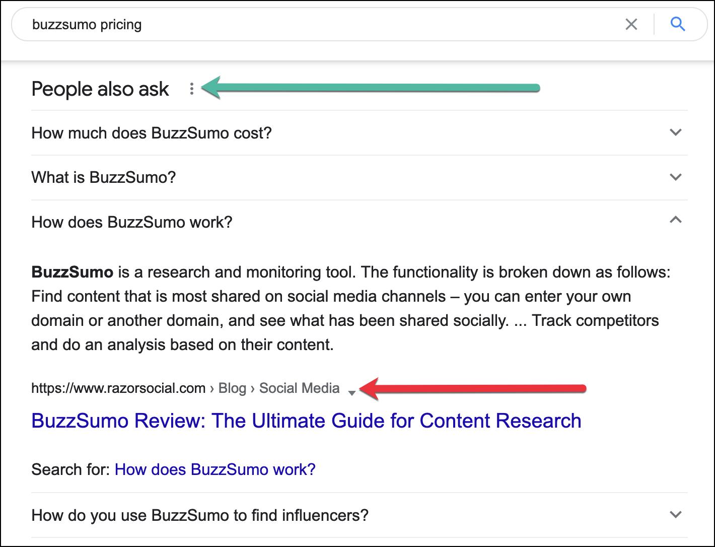 Снимок экрана окна предложений «Люди также спрашивают» для поискового запроса