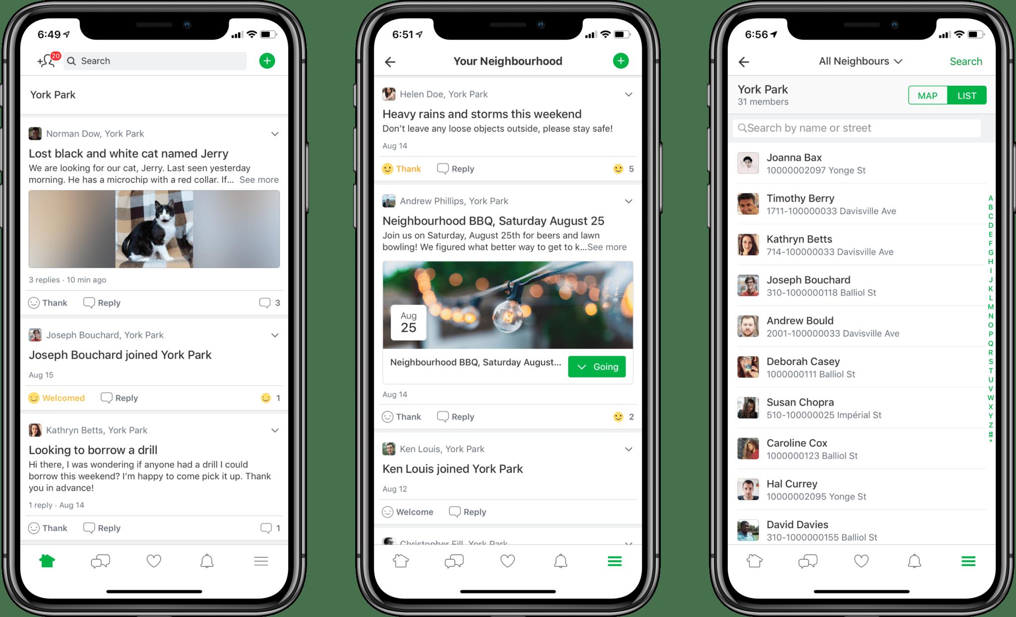 людей, публикующих сообщения на Nextdoor на 3 экранах