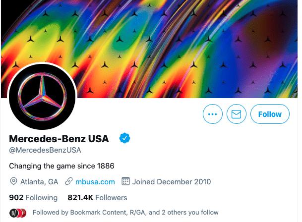 изменить дескриптор Twitter: Mercedes Benz USA Twitter profile