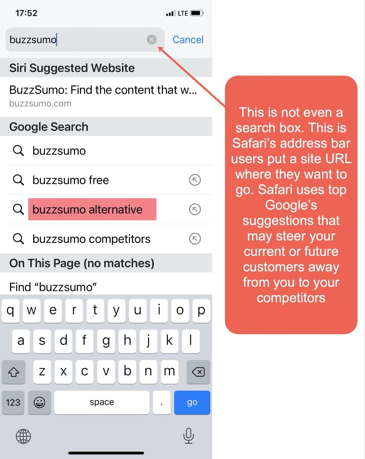 Снимок экрана мобильной адресной строки Safari.