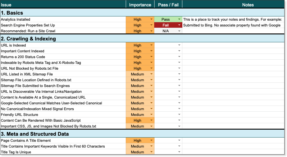 """Скриншот электронной таблицы контрольного списка Tech SEO. """"Style ="""" opacity: 1;"""
