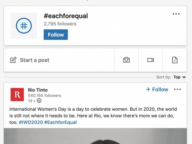 Rio Tinto публикует в LinkedIn хэштег #eachforequal