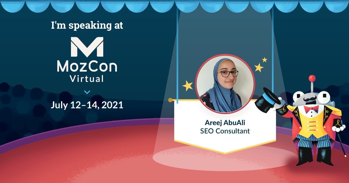 Иллюстрация Начальник манежа Роджер в большой шапке MozCon Virtual палатка в центре внимания консультанта по поисковой оптимизации Ариджа АбуАли.