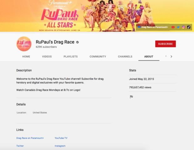 Описание канала RuPaul's Drag Race на YouTube
