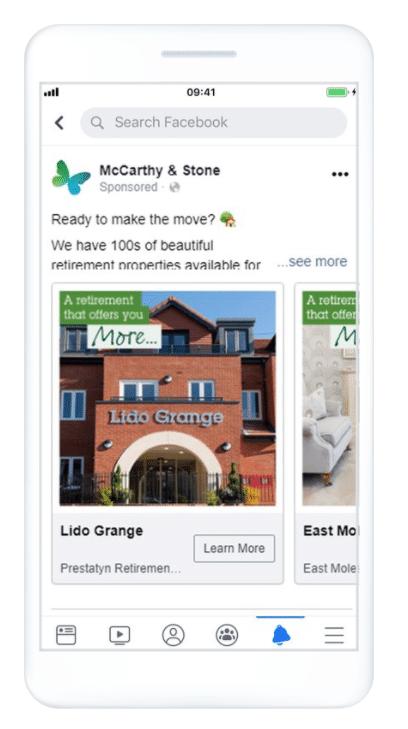 Рекламные объявления McCarthy & Stone в Facebook