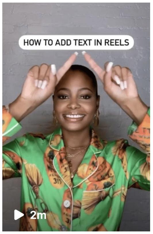 как добавить текст в ролики Instagram