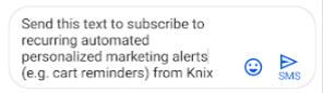 Текстовые сообщения Knix, персонализированные маркетинговые оповещения
