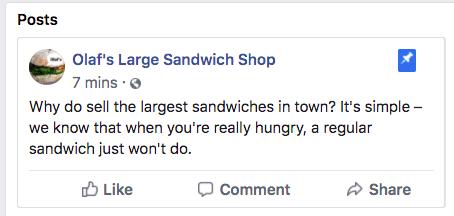 закрепленное сообщение для Olaf's Sandwich Shop