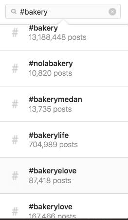 Снимок экрана, показывающий, как находить и искать трендовые хэштеги в Instagram