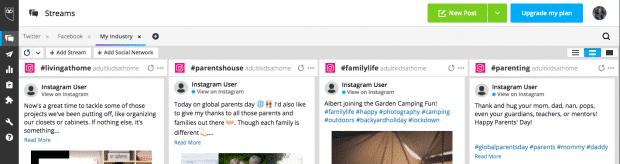 Снимок экрана, показывающий как искать несколько хэштегов в Instagram в Hootsuite