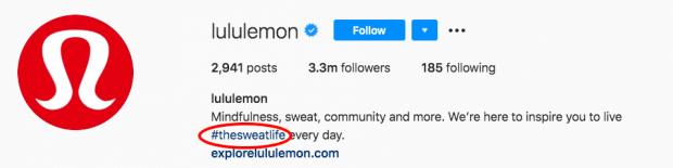 Фирменный хэштег Lululemon в Instagram