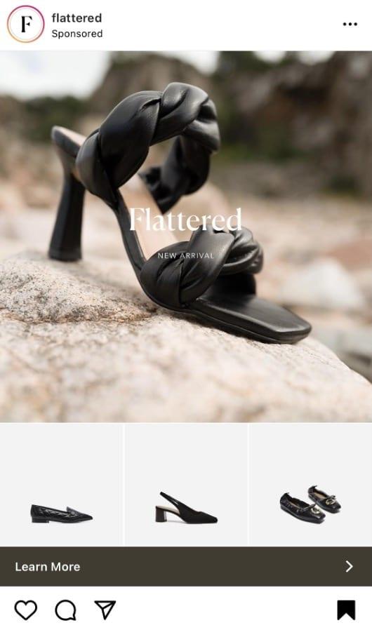 польщенная реклама коллекции туфель на высоком каблуке