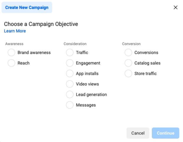 выбрать цель кампании