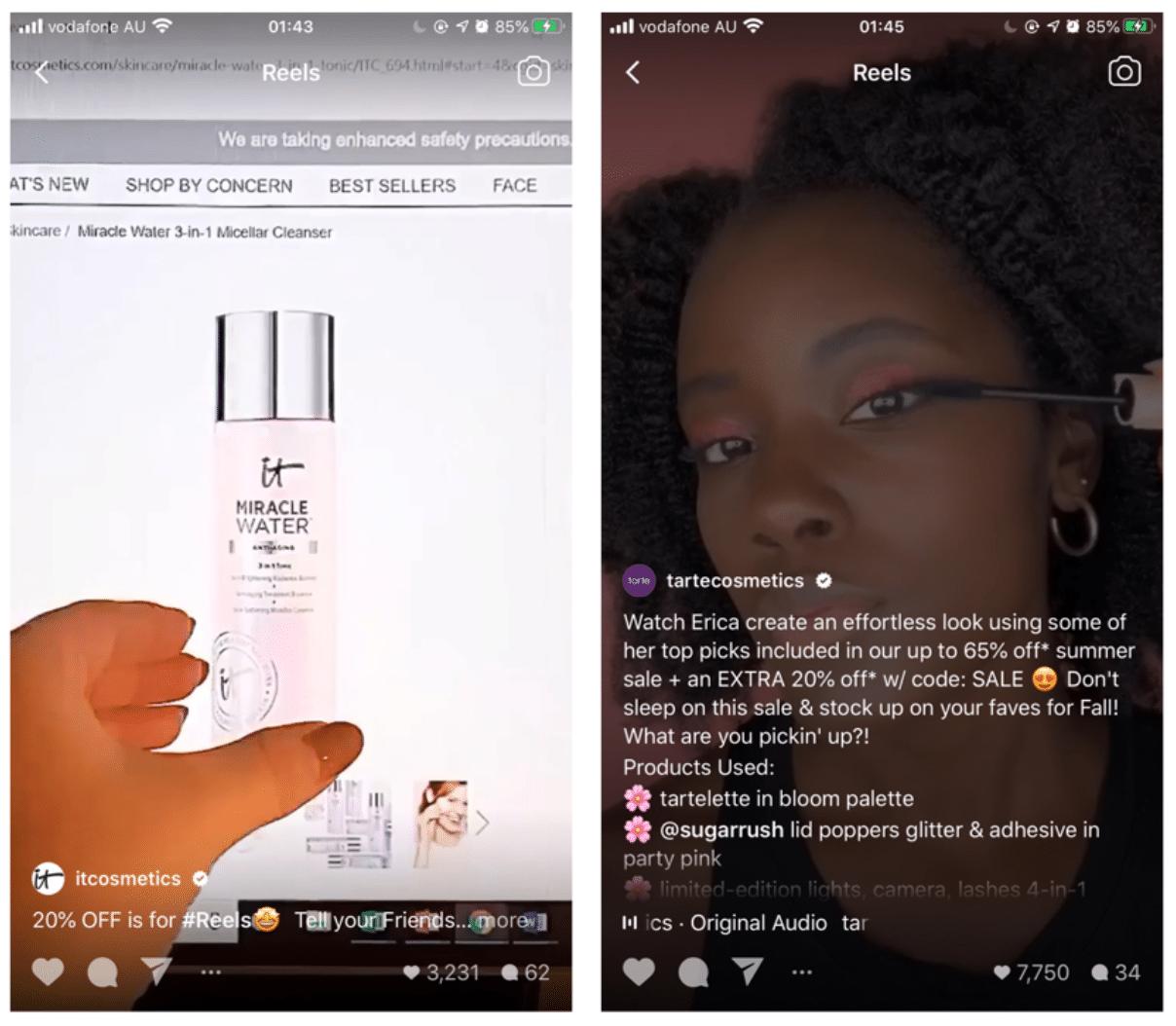 Объявление о продажах IT Cosmetics US и Tarte Cosmetics