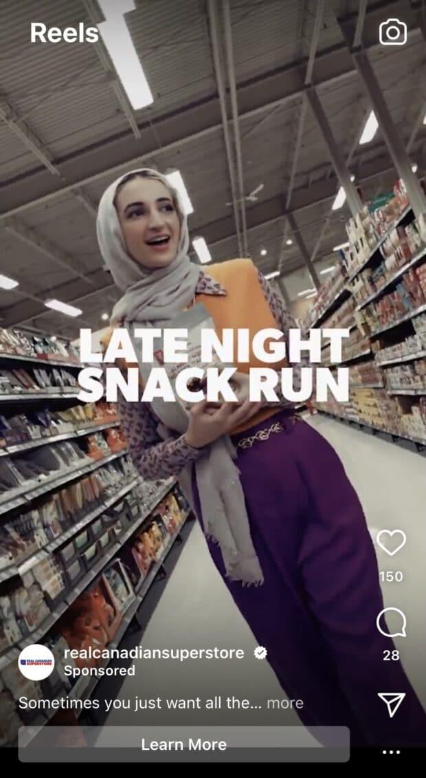Реклама Real Canadian Superstore в Instagram Stories