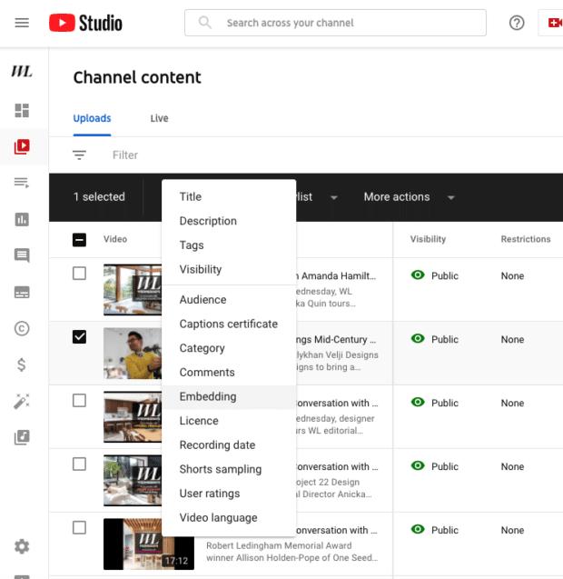 контент канала, встраиваемый в Студию YouTube